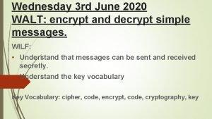 Wednesday 3 rd June 2020 WALT encrypt and