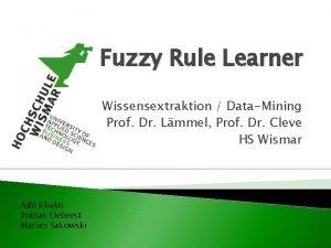 Fuzzy Rule Learner Wissensextraktion DataMining Prof Dr Lmmel