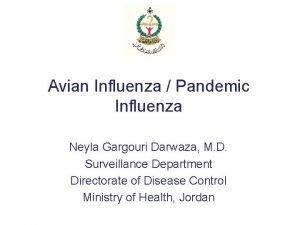 Avian Influenza Pandemic Influenza Neyla Gargouri Darwaza M
