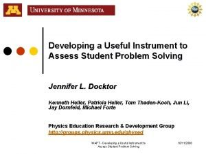 Developing a Useful Instrument to Assess Student Problem