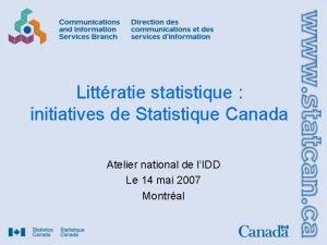Littratie statistique initiatives de Statistique Canada Atelier national