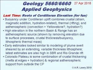 Geology 56606660 Applied Geophysics 27 Apr 2018 Last