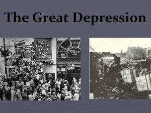 The Great Depression I Economic Crash A Causes