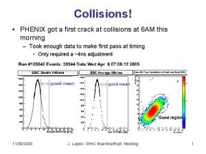 Collisions PHENIX got a first crack at collisions
