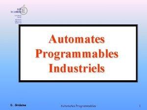 Automates Programmables Industriels D Gridaine Automates Programmables 1