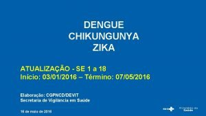 DENGUE CHIKUNGUNYA ZIKA ATUALIZAO SE 1 a 18