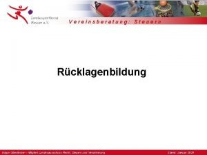 Vereinsberatung Steuern Rcklagenbildung Edgar Oberlnder Mitglied Landesausschuss Recht