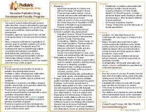Novartis Pediatric Drug Development Faculty Program Pediatric Drug