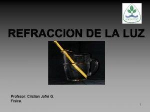 Profesor Cristian Jofr G Fsica 1 Refraccin El