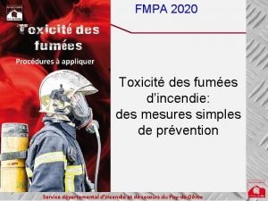 FMPA 2020 Toxicit des fumes dincendie des mesures