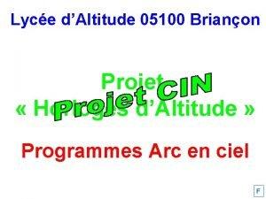 Lyce dAltitude 05100 Brianon Projet Horloges dAltitude Programmes