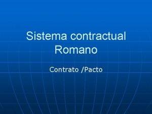 Sistema contractual Romano Contrato Pacto Las obligaciones nacen