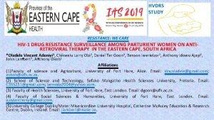 HVDRS STUDY RESISTANCE WE CARE HIV1 DRUG RESISTANCE
