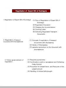 Negotiation of Export Bill of Exchagne 1 Negotiation
