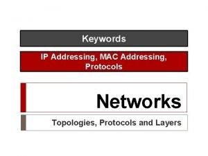 Keywords IP Addressing MAC Addressing Protocols Networks Topologies