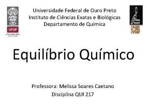 Universidade Federal de Ouro Preto Instituto de Cincias