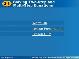 Solving TwoStep and Solving TwoStep 2 3 MultiStep