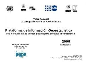 Taller Regional La cartografa censal en Amrica Latina
