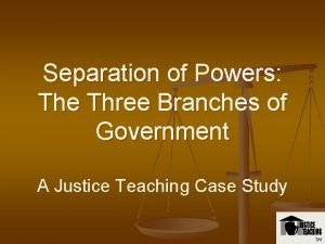 Separation of Powers The Three Branches of Government