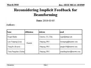 March 2018 doc IEEE 802 11 180509 Reconsidering