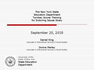 The New York State Education Department Turnkey Scorer