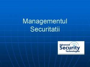 Managementul Securitatii Introducere n Managementul si functiile managementului