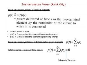 Instantaneous Power Anlk G Instantaneous power for a
