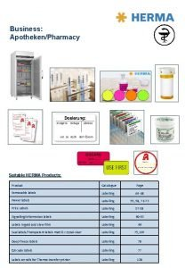 Business ApothekenPharmacy Suitable HERMA Products Product Catalogue Page