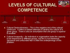 LEVELS OF CULTURAL COMPETENCE Cultural Competence Cultural Incapacity