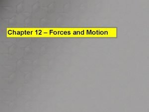 Chapter 12 Forces and Motion 12 1 Forces