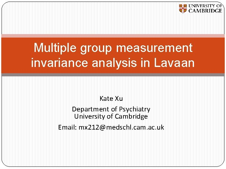 Multiple group measurement invariance analysis in Lavaan Kate