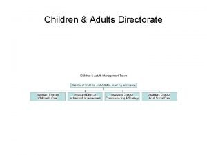 Children Adults Directorate Children and Adults Learning and