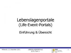 Lebenslagenportale LifeEventPortals Einfhrung bersicht Mittwoch 12 Dezember 2001
