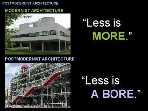 POSTMODERNIST ARCHITECTURE Less is MORE POSTMODERNIST ARCHITECTURE Less