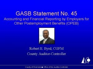 GASB Statement No 45 Accounting and Financial Reporting
