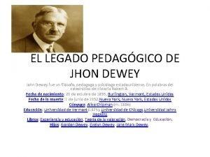EL LEGADO PEDAGGICO DE JHON DEWEY John Dewey