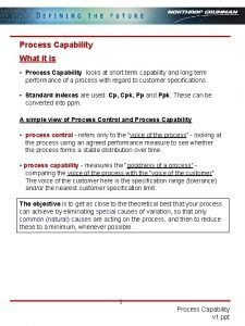 Process Capability What it is Process Capability looks