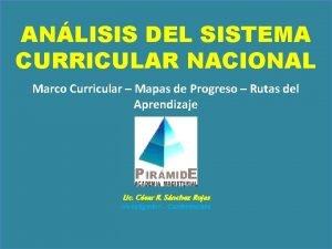 ANLISIS DEL SISTEMA CURRICULAR NACIONAL Marco Curricular Mapas