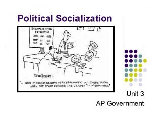 Political Socialization Unit 3 AP Government Many people
