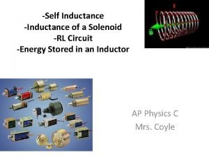Self Inductance Inductance of a Solenoid RL Circuit