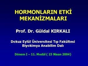 HORMONLARIN ETK MEKANZMALARI Prof Dr Gldal KIRKALI Dokuz