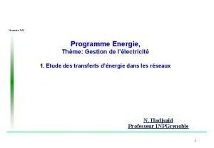Novembre 2002 Programme Energie Thme Gestion de llectricit
