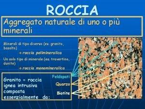 ROCCIA Aggregato naturale di uno o pi minerali