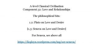 Alevel Classical Civilisation Component 32 Love and Relationships