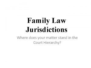 Family Law Jurisdictions Where does your matter stand
