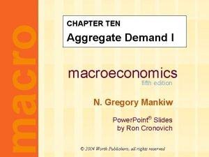 macro CHAPTER TEN Aggregate Demand I macroeconomics fifth