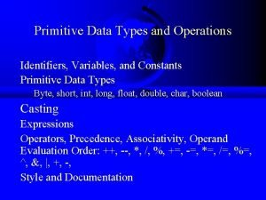 Primitive Data Types and Operations Identifiers Variables and