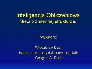 Inteligencja Obliczeniowa Sieci o zmiennej strukturze Wykad 12
