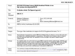IEEE C 802 20 0371 Project IEEE 802