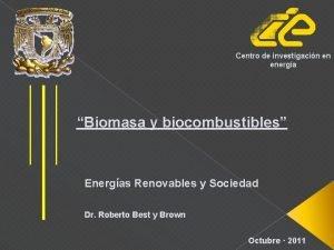 Centro de investigacin en energa Biomasa y biocombustibles